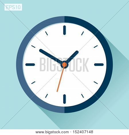 Сlock icon in flat style, timer on color background. Vector design element
