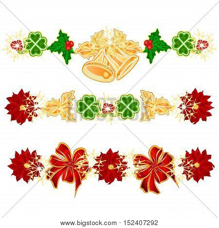 Christmas decoration garlands with bells and leaf clovers set of four vector illustration