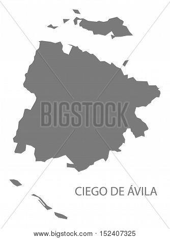 Ciego de Avila Cuba Map grey illustration high res
