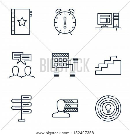 Set Of Project Management Icons On Opportunity, Innovation And Time Management Topics. Editable Vect