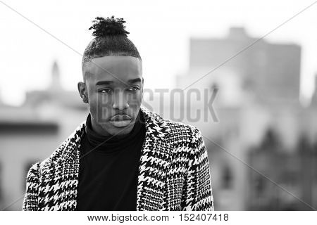 Portrait of a young afro american man, modeling in New York