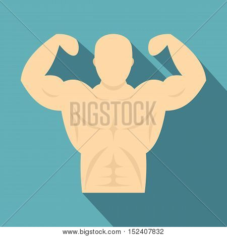 Strong athletic man icon. Flat illustration of strong athletic man vector icon for web