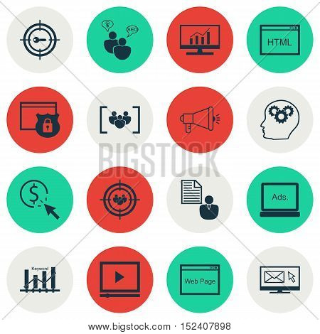 Set Of Seo Icons On Market Research, Keyword Marketing And Brain Process Topics. Editable Vector Ill