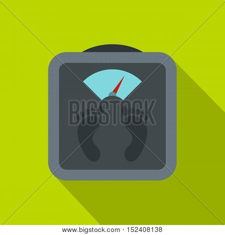 Gray floor scales icon. Flat illustration of floor scales vector icon for web isolated on green background
