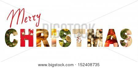 Merry Christmas letters with real different photos inside - Christmas banner or head decoration, isolated on white