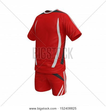 Red football shirt with white shorts isolated on white background. 3D illustration