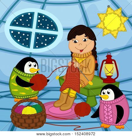 Eskimo girl knits sweater for penguin - vector illustration, eps