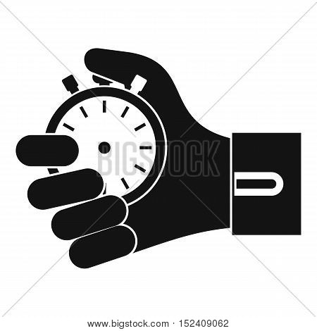 Hand holding stopwatch icon. Simple illustration of hand holding stopwatch vector icon for web