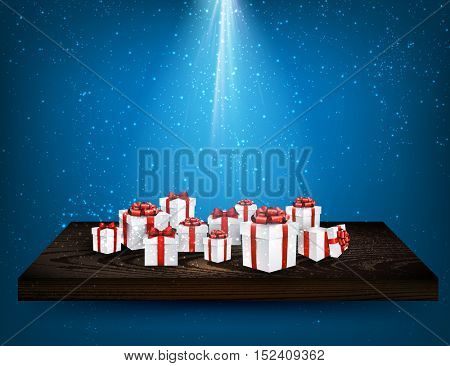 Blue background with gift boxes on wooden shelf. Vector illustration.