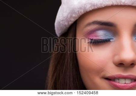 Cute girl in christmas concept