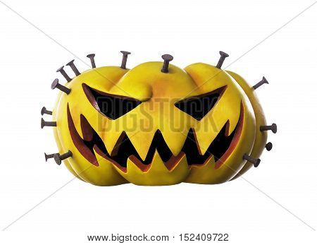 Halloween pumpkin with nail isolated on white with clipping path