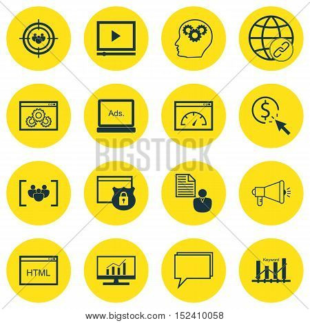 Set Of 16 Universal Editable Icons For Marketing, Seo And Advertising Topics. Includes Icons Such As