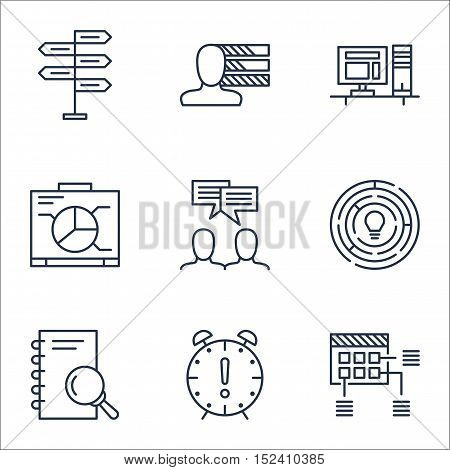 Set Of Project Management Icons On Time Management, Computer And Opportunity Topics. Editable Vector