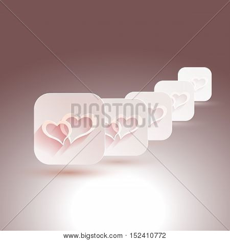 Vector stylish design. hearts with shadows for designs of wedding, invitations. EPS10