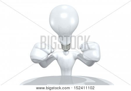 The Original 3D Character Illustration Light Bulb Head