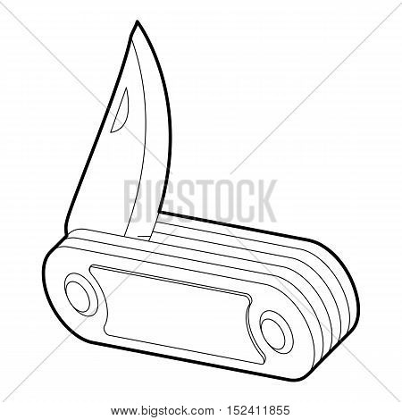 Folding knife icon. Outline illustration of folding knife vector icon for web