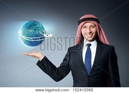 Arab man in air travel concept