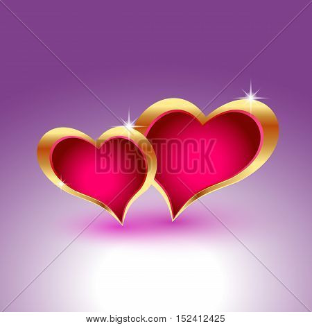 Two realistic hearts in gold metal frames. Template for Valentine s designs, invitation, party, birthday, wedding. EPS10 vector illustration.