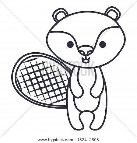 beaver cartoon icon. Cute animal creature and little theme. Isolated design. Vector illustration