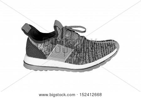 Shoes and sport concept - Sport running shoe gray black and white tone color isolated on white background