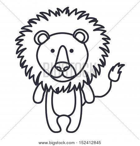 Lion cartoon icon. Cute animal creature and little theme. Isolated design. Vector illustration