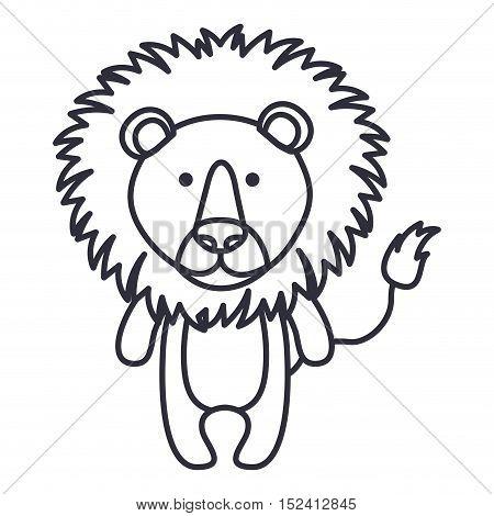 Lion cartoon icon. Cute animal creature and little theme. Isolated design. Vector illustration
