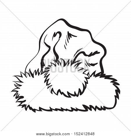 red Santa Claus hat, sketch style vector illustration isolated on white background. Collection of traditional Santa Clause cap, Xmas celebration