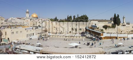 Jerusalem Israel October 03 2016: Panorama of remnant of the ancient wall of the Temple courtyard a sacred site of Jewish prayer and pilgrimage in Jerusalem Israel