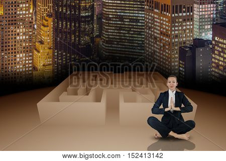 Woman in business concept with maze