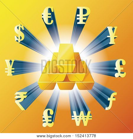 Vector illustration of different currencies and gold bars.Money exchange. The worlds major currencies. The value of money.