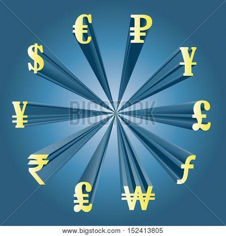 Vector illustration of different currencies. Money exchange. The worlds major currencies.