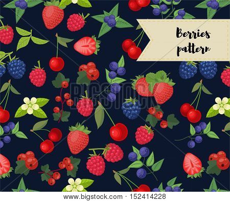 vector seamless pattern with different berries. strawberry, raspberry, cherry, redcurrant blueberry blackberry