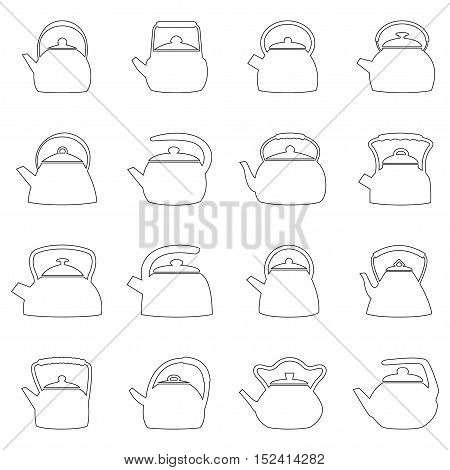 Set of outlines of kettles, vector illustration