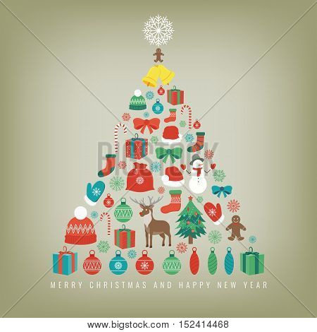 Christmas tree with decoration elements. Chrismas greeting card. Vector illustration