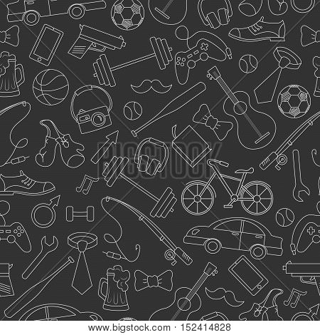 Seamless pattern on the theme of male Hobbies and habitssimple hand-drawn white contour icons on black background