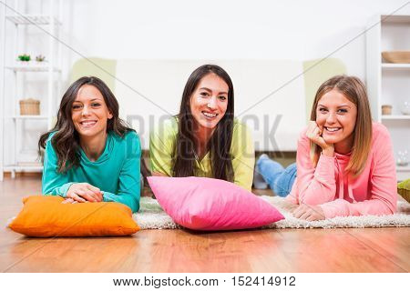 Three friends are having nice time together.