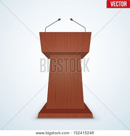 Wooden Podium Speaker Tribune with Microphones. Speech symbol. Vector Illustration Isolated on Background.