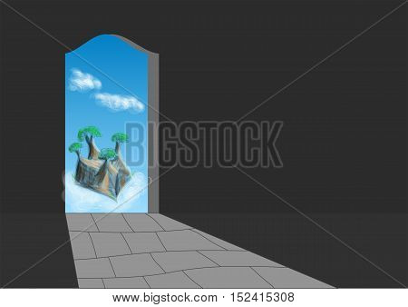 doorway in dark room with abstract sky and clouds