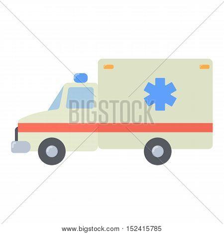 Ambulance icon. Flat illustration of ambulance vector icon for web