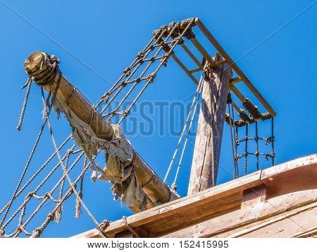 Broken mast of a shipwrecked sailing ship