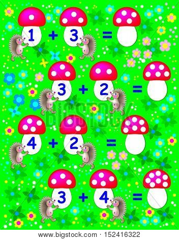 Exercises for children - need to solve examples and to write the numbers on relevant mushrooms. Developing skills for counting. Vector image.