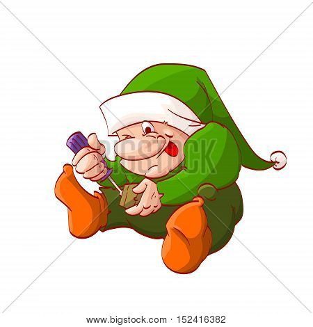 Colorful vector illustration of a cartoon christmas elf or dwarf fixing or building toy with screwdriver