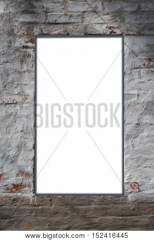 White rectangular blank space for text in the centre of rough gray plastered brick wall
