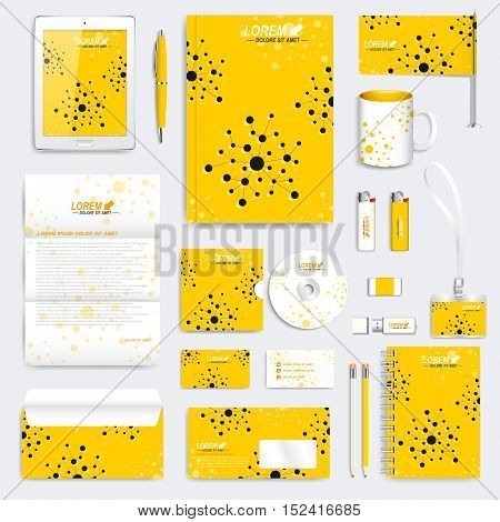 Yellow set of vector corporate identity template. Modern medical stationery mock-up. Branding design with molecule. Medicine, science, technology concept