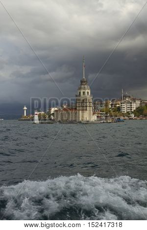 Maidens Tower Istanbul city and sea in storm weather