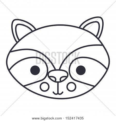 Raccoon cartoon icon. Cute animal creature and little theme. Isolated design. Vector illustration