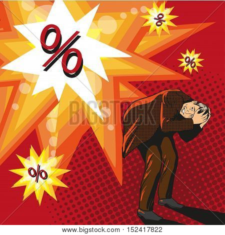 High loan interest concept vector illustration in comic pop art style. Man trying to hide from explosion.