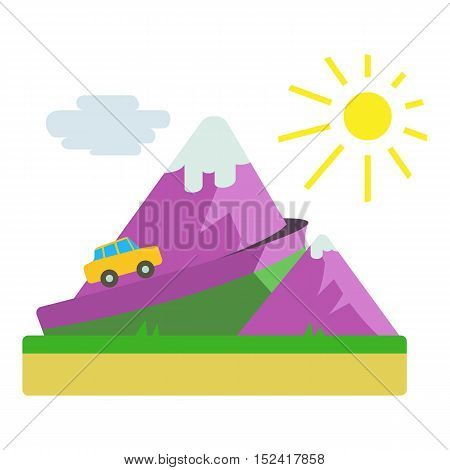 Travel by car in mountains concept. Flat illustration of travel by car in mountains vector concept for web