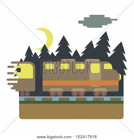 Train in night rides through forest concept. Flat illustration of train in night rides through forest vector concept for web