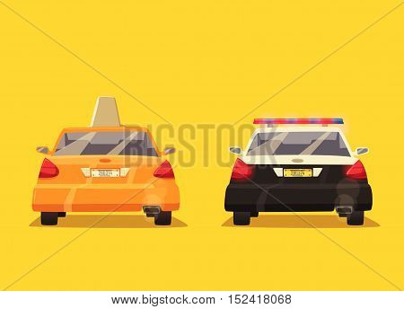 Police and Taxi car. Vector cartoon illustration. Isolated background. American transport. Service. Back view. Modern auto. Yellow cab. Security and justice